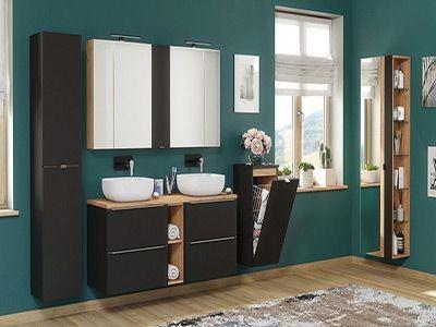 Ciemne meble łazienkowe. Różne wymiary i rodzaje szafek do łazienki.