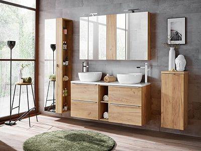Capri Oak - meble łazienkowe w kolorze dąbu- różne wymiary szafek.