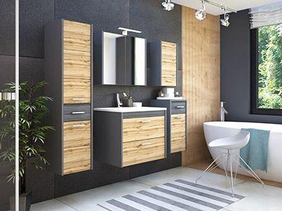 Ibiza Antracyt połączenie drewna i antracytu- modne szafki do łazienki